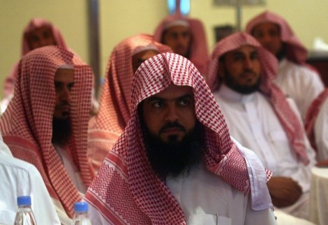 Saudi members of Committee for the Promotion of Virtue and Prevention of Vice are seen during training course in Riyadh